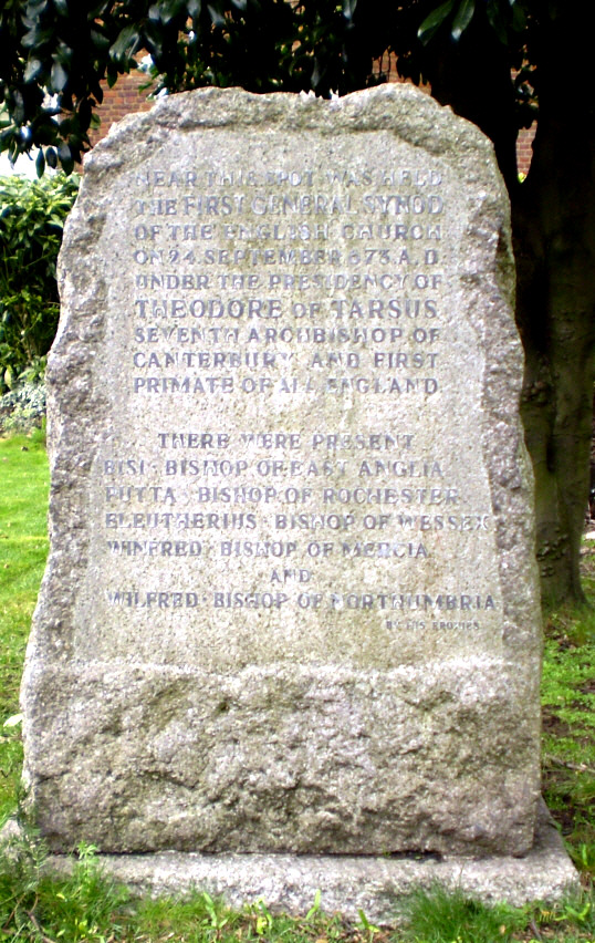 The stone at Hertford Castle marking the Synod of 673AD