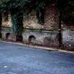 Bricked up cellars at site of old Youngs brewery in South Street