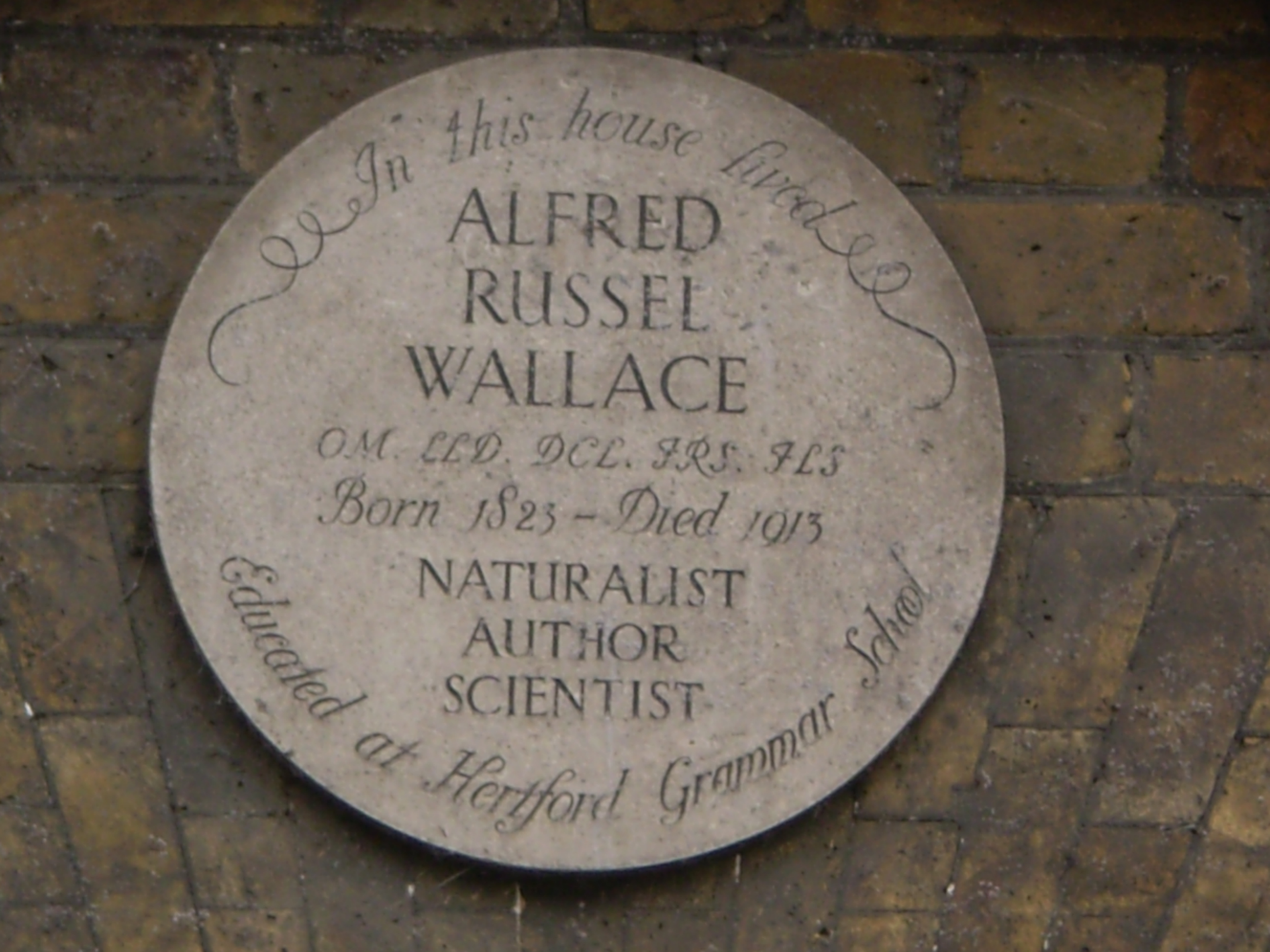 Plaque to Alfred Russel Wallace