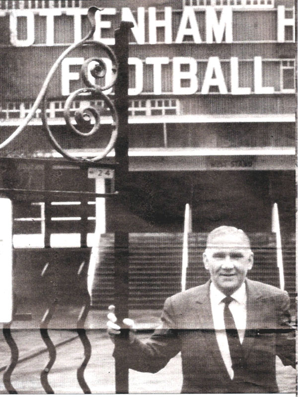 Bill Nicholson at the gates to White Hart Lane