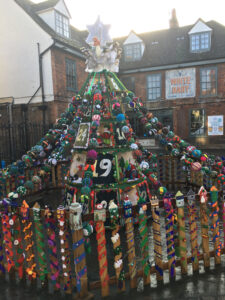 Yarn bombers Christmas tree in Salisbury Square